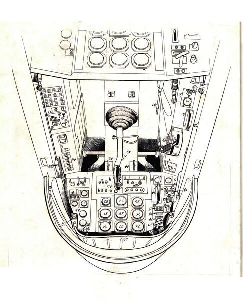 Aermacchi MB326 cockpit cutaway drawing