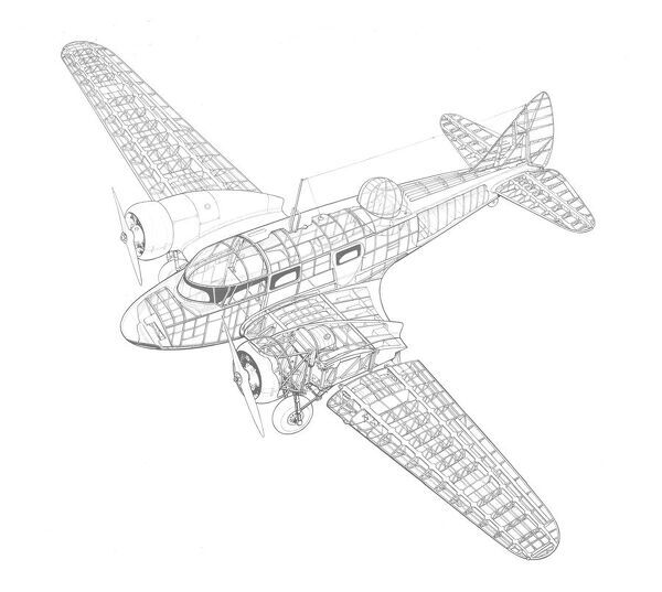 Airspeed Oxford Cutaway Drawing