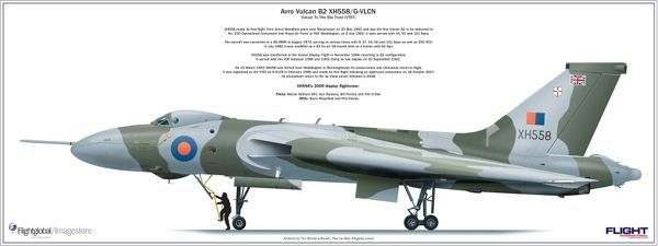 Avro Vulcan XH558 poster created by Flightglobal to celebrate the restoration of the aircraft by the Vulcan to the Sky Trust