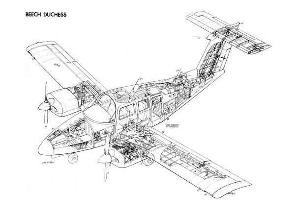 Beech Duchess 76 Cutaway Drawing