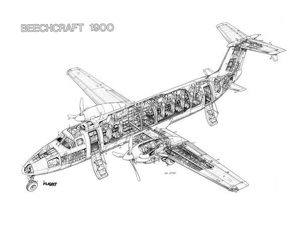 Beechcraft 1900 Cutaway Drawing