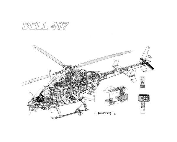 bell 407 cuatway drawing