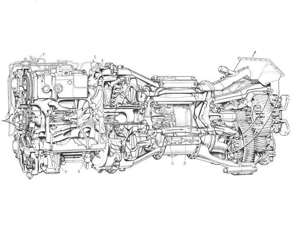 blackburn turbomeca turmo 600 cutaway drawing