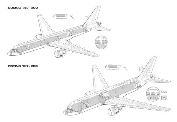 boeing 757 200 and 767 200 cutaway drawing