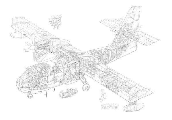 canadair cl 21st 415 cutaway drawing