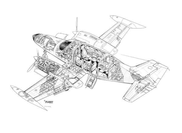 Cessna 421 Golden Eagle Cutaway Drawing