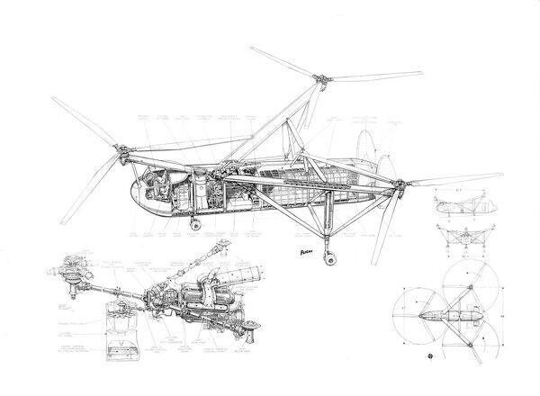 Cierva W11 Air Horse Cutaway Drawing