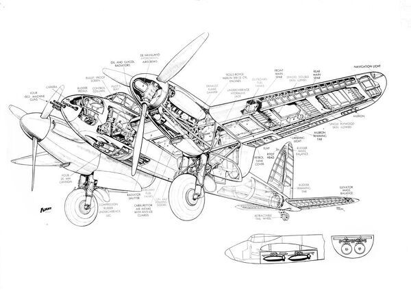 DH Mosquito NF11 Cutaway Drawing