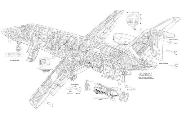 embraer cba 123 cutaway drawing