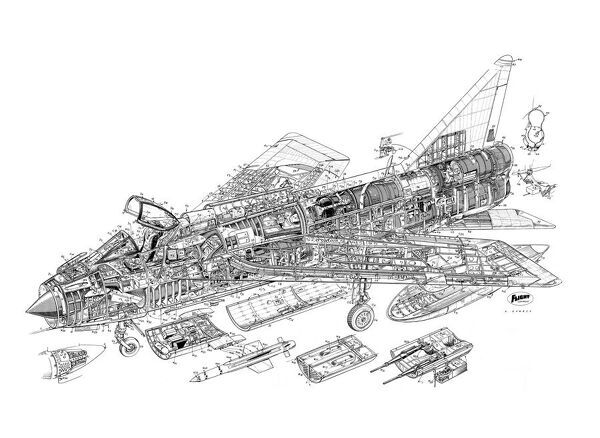 english electric lightning f 1a cutaway drawing