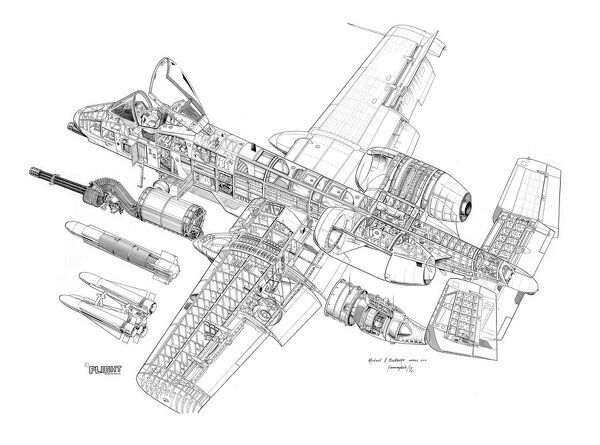 fairchild a 10a thunderbolt ii cutaway drawing