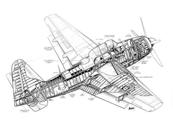 Fairey Spearfish Cutaway Drawing
