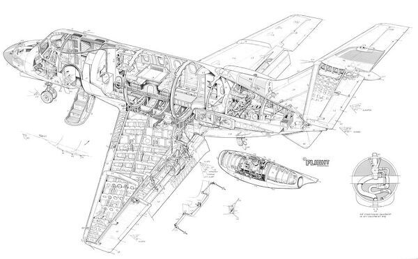 hawker siddeley 125 series 400 cutaway drawing