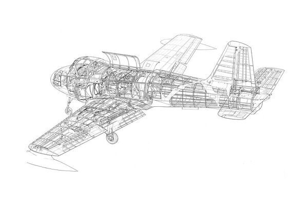Hunting Jet Provost T1 Cutaway Drawing