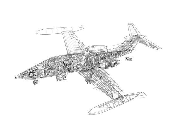 learjet 24a cutaway drawing