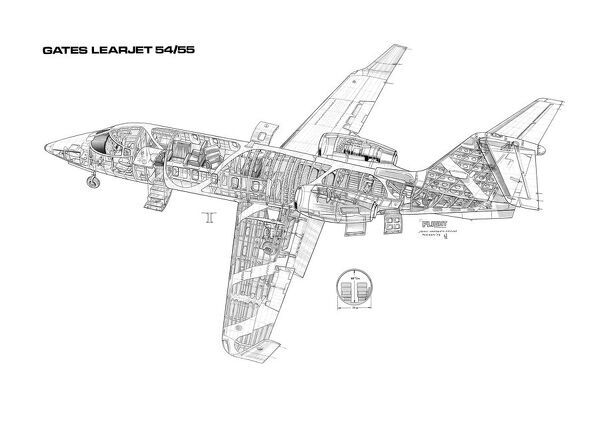 Learjet 54/55 Cutaway Drawing