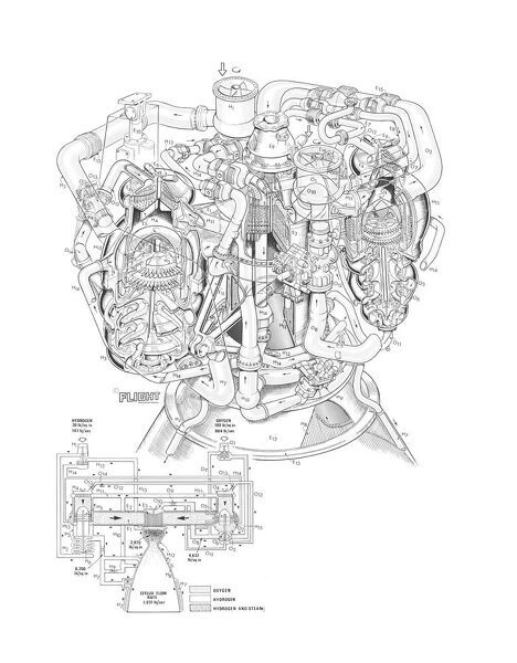NASA Space shuttle main engine Cutaway Drawing