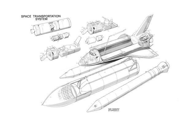 Nasa Space shuttle transportation Cutaway Drawing