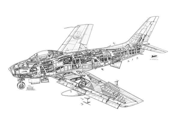 North American F-86E Sabre Cutaway Drawing