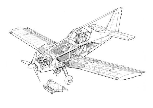 Piper PA-36 Pawnee Brave Cutaway Drawing