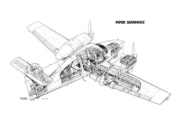 Piper PA-44 Seminole Cutaway Drawing