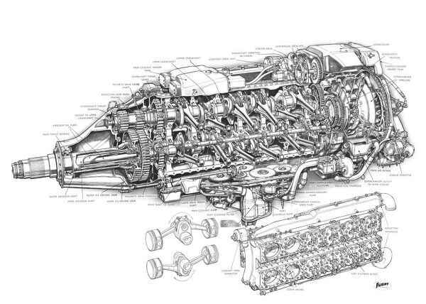 Rolls-Royce Eagle Cutaway Drawing