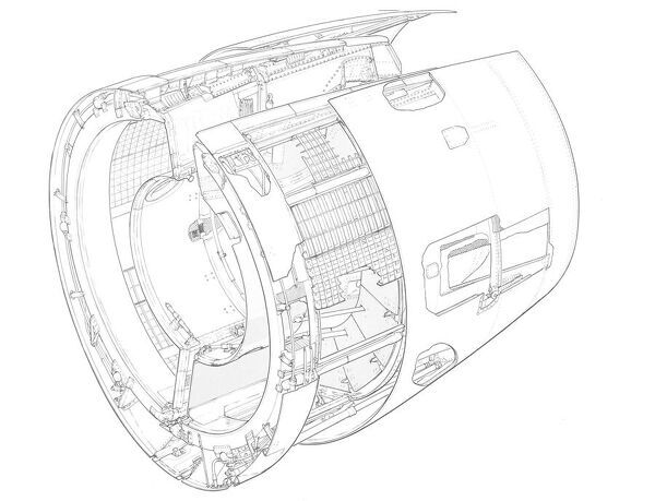Rolls-Royce RB 211-535 reverse thrust Cutaway Drawing