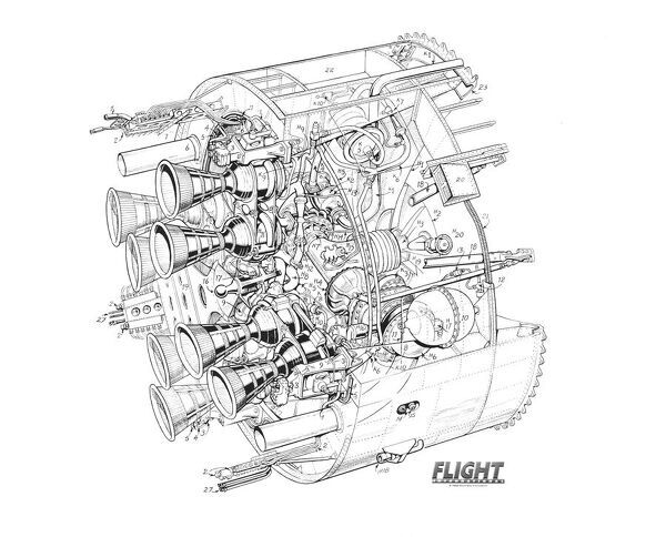 royal aircraft establishment black arrow rear jet engine cutaway drawing