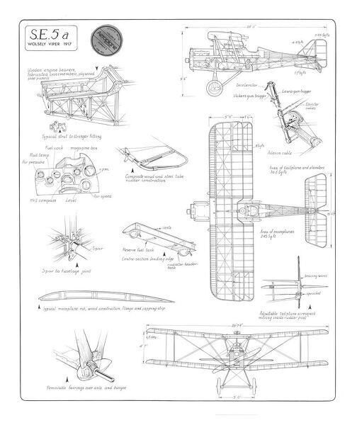 royal aircraft factory se5 cutaway drawing