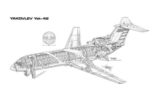 Line Drawing Yak : Yakovlev yak cutaway drawing prints flightglobal