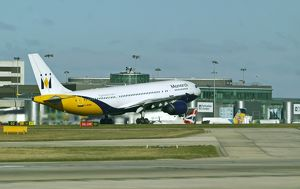 Airbus A300-600 Monarch taking off at Manchester Airport