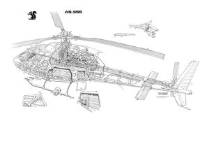Eurocopter AS355 Twin Squirrel Cutaway Drawing