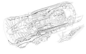 General Electric F404-GE-400 Cutaway Drawing
