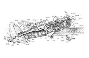 De Havilland Chipmunk Cutaway Drawing