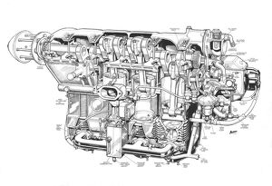 De Havilland Gypsy Major Cutaway Drawing