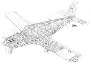 Piper Cherokee PA-32 six Cutaway Drawing