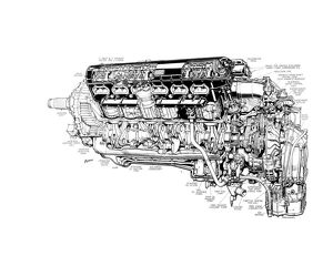 Rolls Royce Merlin XX Cutaway Drawing