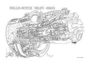 Rolls Royce RB211-524G Cutaway Drawing