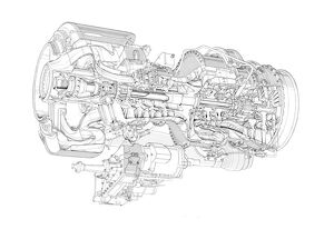 Rolls-Royce - Turbomeca RTM 322 Cutaway Drawing