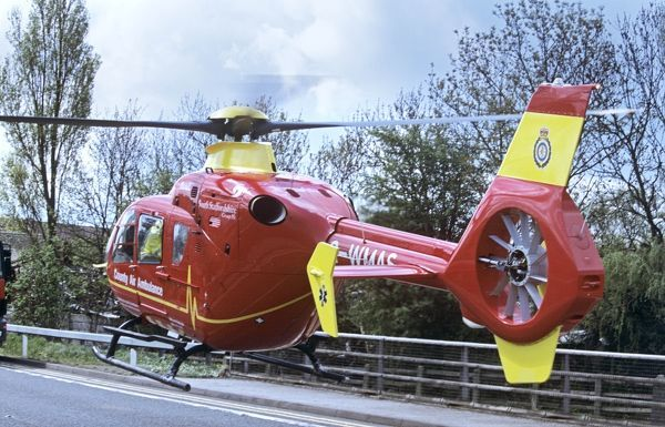 Air Ambulance landing on road after accident