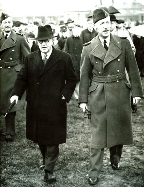 Air Minister Sir Kingsley Wood with Air Cief Marshall Sir Cyril Newall Chief of the Air Staff (1937-40) at Hendon RAF May 1938