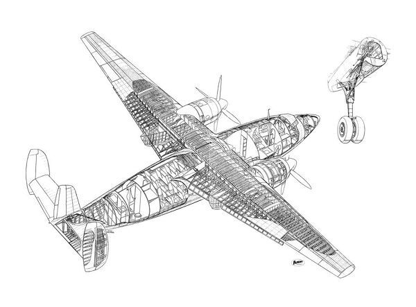 Airspeed AS57 Ambassador Cutaway Drawing
