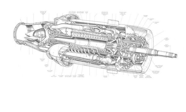 Armstrong Siddeley Python Cutaway Drawing