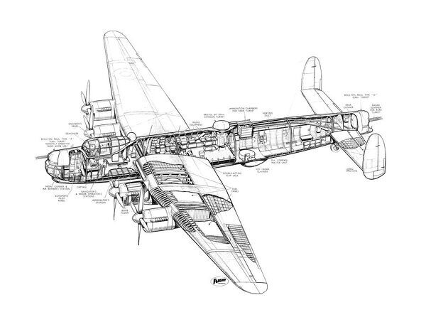 Avro 694 Lincoln Cutaway Drawing