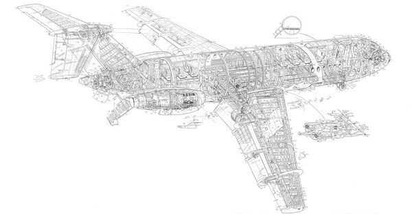 BAC One eleven Cutaway Drawing
