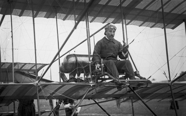 The Belgian aviator, Joseph Christianes on his Henry Farman biplane, Bournemouth Meeting, July 1910