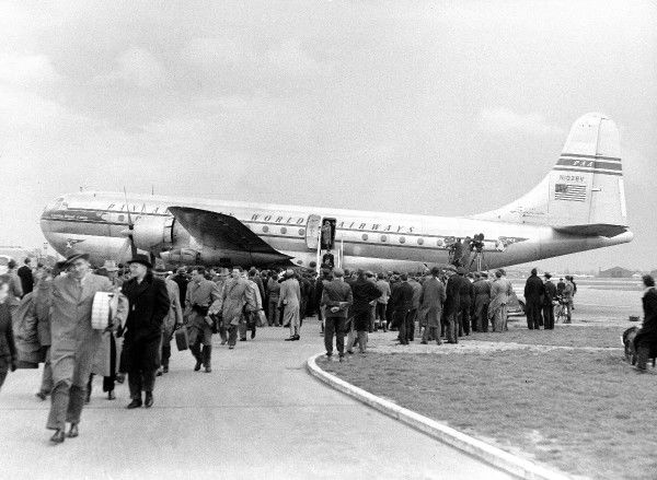 Boeing 377 Stratocruiser Pan-Am N1028V Heathrow 1949 (c) The Flight Collection Not to be reproduced without permission