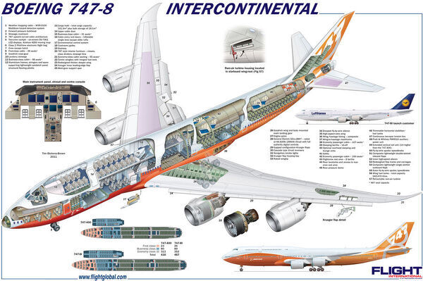 boeing 747-8 cutaway poster - photo prints