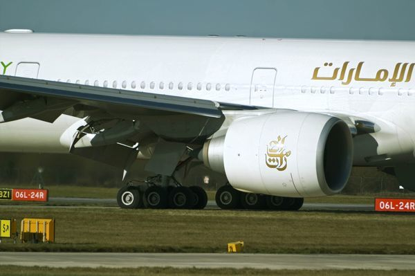 Emirates 777-300 ER port engine and under carriage