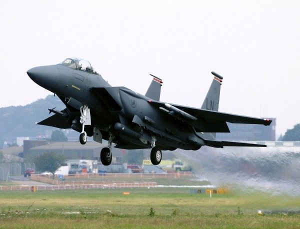 Boeing F15. F15E Strike Eagle just lifting off from Farnborough